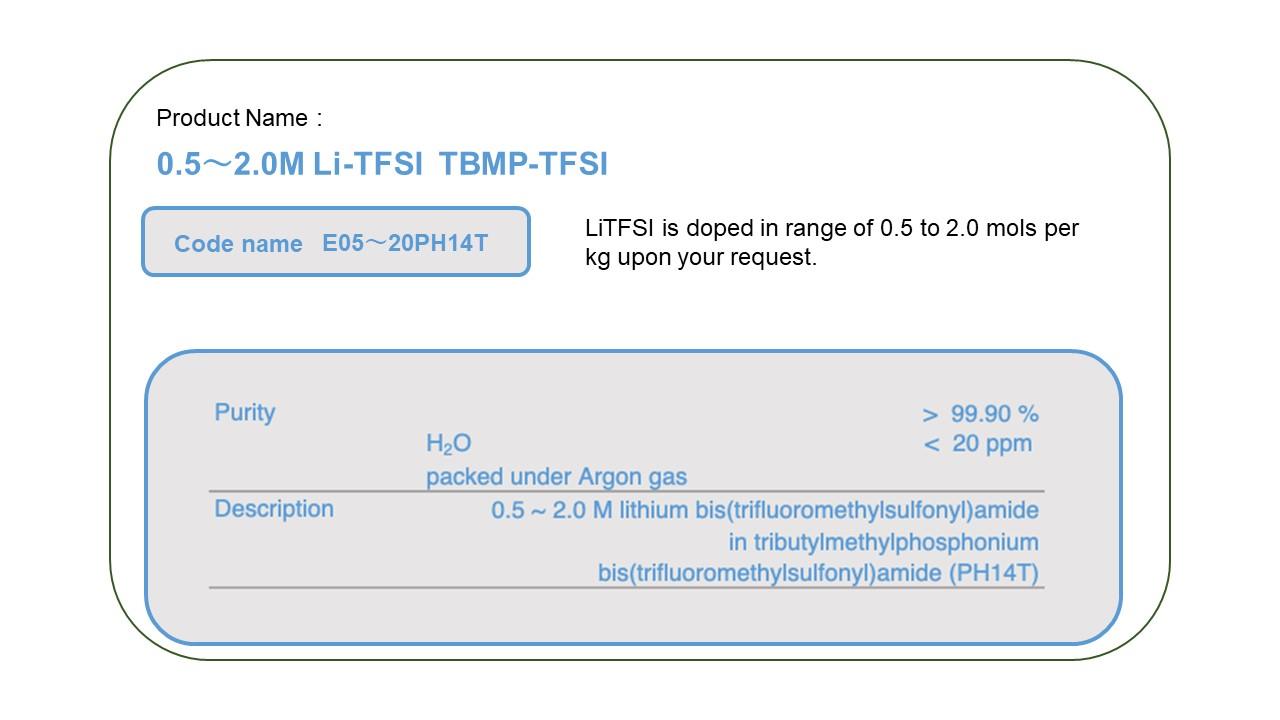 Product Name  E00520PH14T  0.5 - 2.0 M LiTFSI TBMP-TFSI