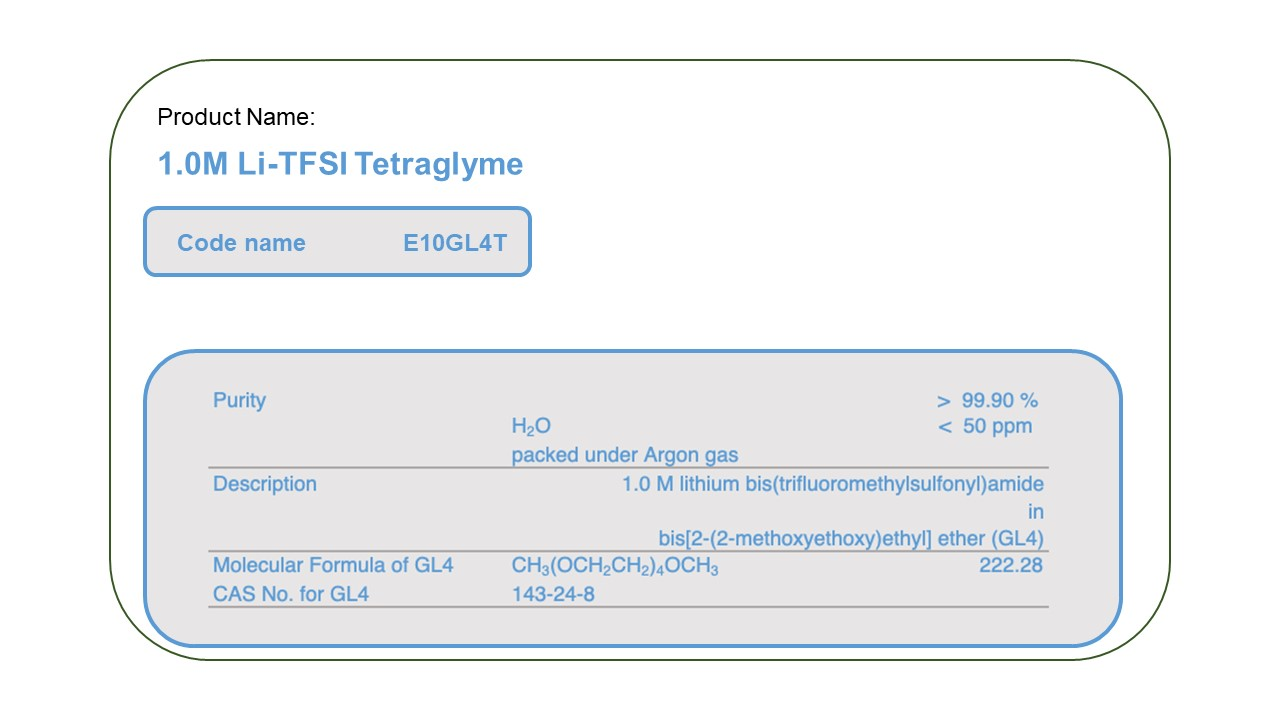 Product Name  E10GL4T  1.0M LiTFSI Tetra Glyme