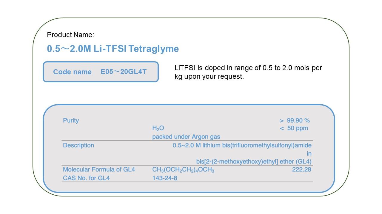 Product Name E0520GL4T      0.5 - 2.0M LiTFSI  Tetra Glyme