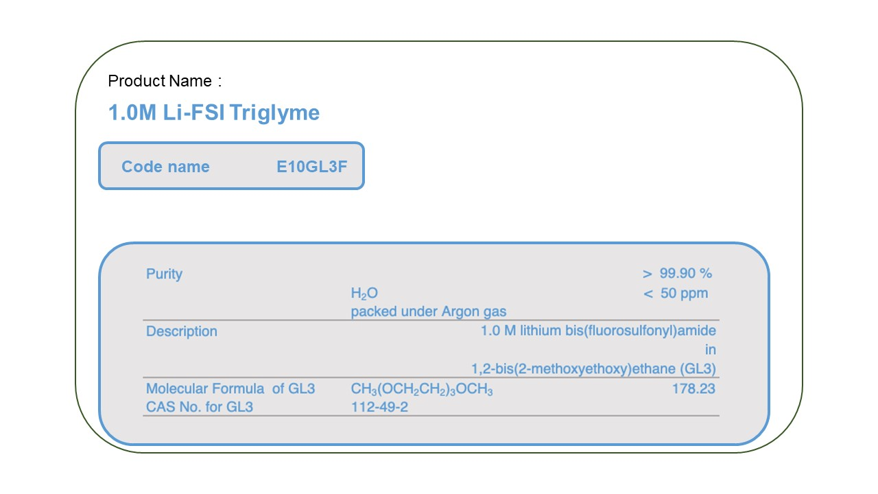 Product Name   E10GL3F 1.0M LiFSI Triglyme
