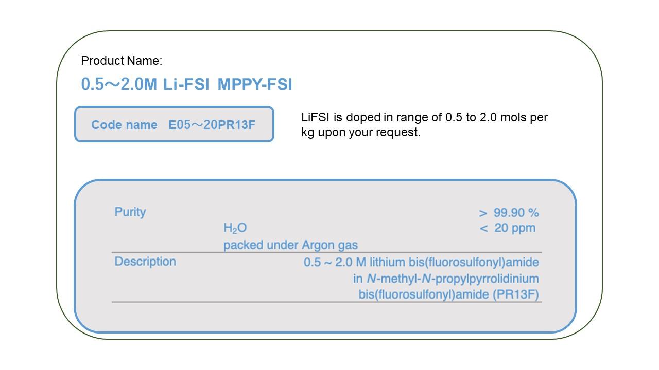 Product Name  E0520PR13F 0.5-2.0M LiFSI MPPY-FSI